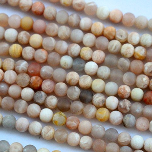 Natural Unpolished Moonstone Round Jewelry Making Gemstone Beads (4mm)