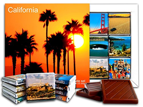DA CHOCOLATE Candy Souvenir CALIFORNIA State Chocolate Gift Set 5x5in 1 box (Palms - California Map Anaheim Disneyland