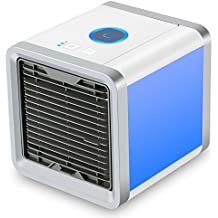 SENDOW Mini Desk Air Conditioner, USB Portable Personal Space Air Cooler Humidifier Purifier 7 Colors LED 3 Fan Speeds, Cooling Fan Office Home Outdoor
