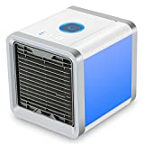 Fitfirst Portable Air Conditioner Cooler, Desk Cooling Fan, 4 in 1 Personal Space Air Cooler, Humidifier, Purifier and 7 Colors Night Light, Support 3 Cooling Speeds, USB Charge for Home and Outdoor