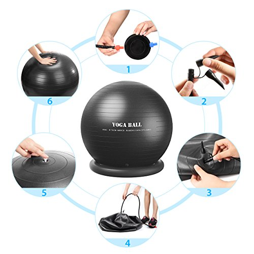 Homitt Exercise Yoga Ball, Gym Ball Anti Bust Stability Ball Set Stability Ring, Resistance Bands, Foot Pump Improve Balance, Core Strength, Stay in Shape, Physical Therapy Home, Office, Gym by Homitt (Image #7)