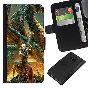 eJoy carpeta del tirón la caja de cuero de alta calidad de la PU Caso protector/HTC One M7/-Cuento de hadas Espada Carácter Mágico