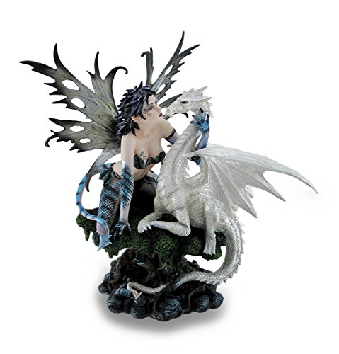 (Zeckos Blue Dragon Fairy w/Tail and White Snow Dragon Sculpted Statue)
