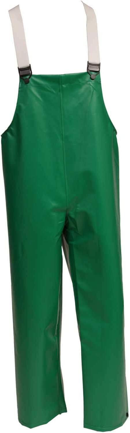 Green Medium Tingley O41008.MD 17mm Flame Resistant PVC Storm Fly Front Thick Overall with High Collar and Hidden Hardware
