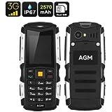 [Version 3G Anti-choc Téléphone] EasySMX AGM 3G Téléphone Portable Etanche Anti-poussière Antichoc Téléphone Mobile Extérieure Robuste avec Caméra Bluetooth Téléphone Cellulaire de Longue Veille Batterie 2570mAh (Gris)