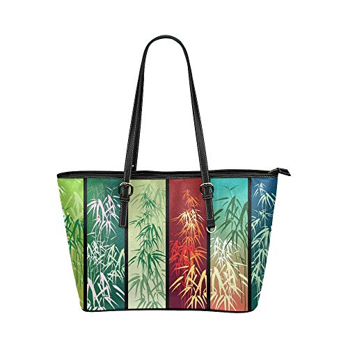 - InterestPrint Vintage Bamboo with Banner Women's Leather Handbags Ladies Shoulder Bag Tote Bags
