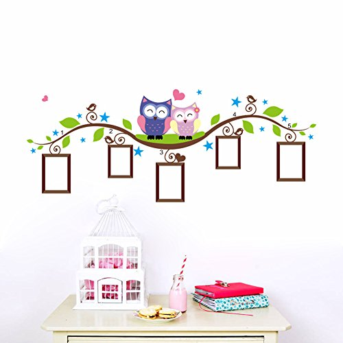 Cartoon Birds Owls Family on the Tree Branches Photo Frame