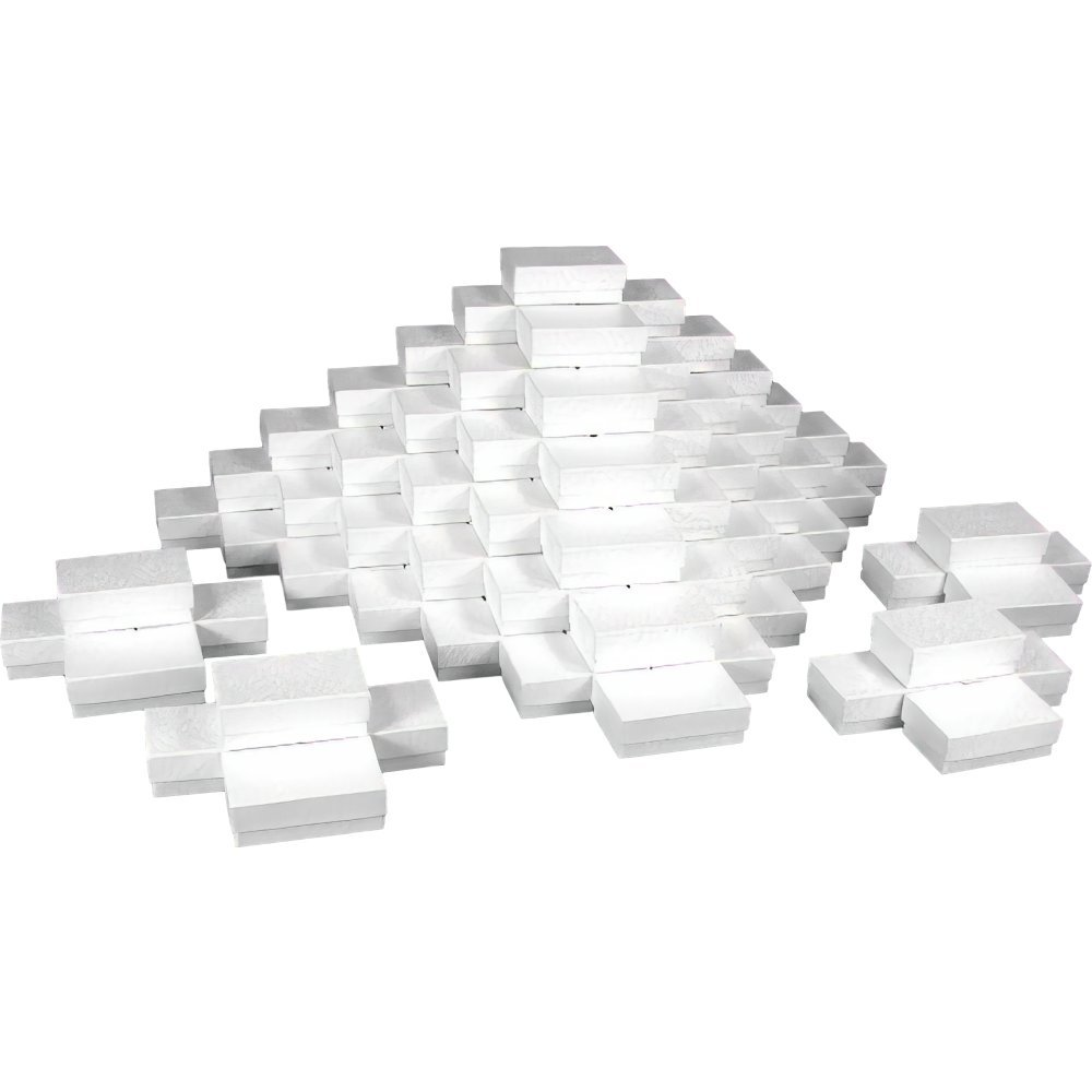 White Jewelry Gift Boxes Cotton Filled #21 (Case of 100) A1925