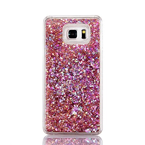 Samsung Galaxy Note 5 case case, Myckuu Liquid, Cool Quicksand Moving Stars Bling Glitter Floating Dynamic Flowing Case Liquid Cover for Note 5 case case(ZS 4#) (Case 4 Note Bling Red)