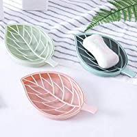OxbOw Leaf Shape Designer Soap Tray   Drip Soap Box with Water Draining Tray (1 Piece)