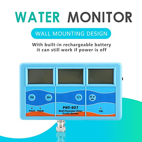 Water Tester - Multi-Function Ph Tester Water Monitor Orp Ec Cf Tds Temperature Meter (110v, Us Plug) by OKBY (Image #1)