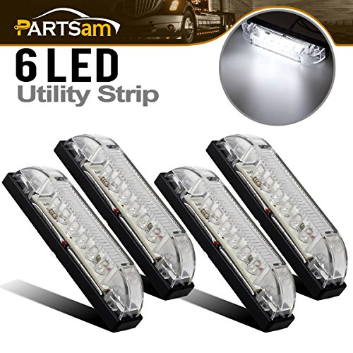 - Partsam 4pcs 4Inch Led Utility Strip Light Bar White 6 LED Clear Lens Waterproof 12V Vehicles Decoration Surface Mount 4