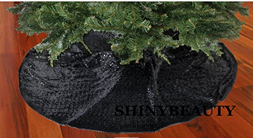 ShinyBeauty Embroidered and Sequined Holiday-Black-Sequin Tree Skirt-24Inch Christmas Tree Skirt Polyester Christmas Tree Skirt Christmas Decorations (Black) by ShinyBeauty