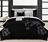 Bed in a Bag King Clearance Chic Home Floral 8-Piece Embroidered Comforter Set Complete Embroidery Pattern Bed in a Bag with Bed Skirt and Decorative Pillows Shams, King Black