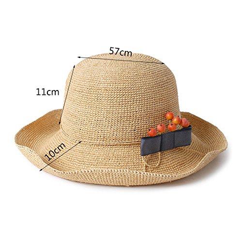 Hat Sombrero Sombrero de Hierba Doblar Se Puede Doblar Hierba Sombrero de Protección de Sol Sombrero de Sol de Verano Femenino Sombrero de Protección UV al Aire Libre 6fe081