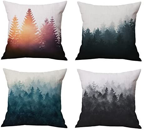 Amazon Com The Foggy And Sunshine Forest Trees Throw Pillow Covers Set Cushion Covers Home Decoration Cotton Linen 18 X 18 Inch Set Of 4 Home Kitchen