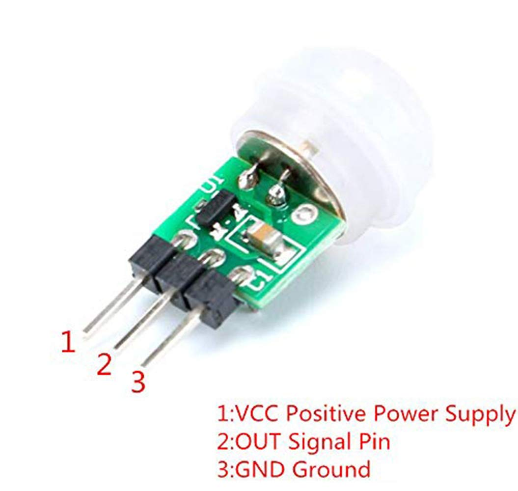 Youmile 5PACK IR Human Sensor AM312 Mini Detector Module HC-SR312 Pyroelectric Infrared PIR Motion Automatic Detector DC 2.7 to 12V for Arduino 2 A1U2 With Dupont Wire