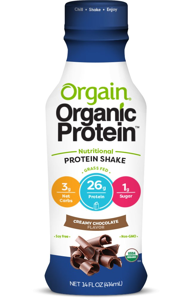 Orgain Organic 26g Protein Shake, Creamy Chocolate, 14 Ounce, 12 Count