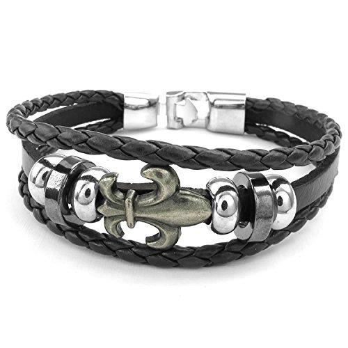 MENDINO Braided Leather Bracelet Fleur De Lis Buckle Black Cord Bracelet with a Velvet (Fleur De Lis Buckle)