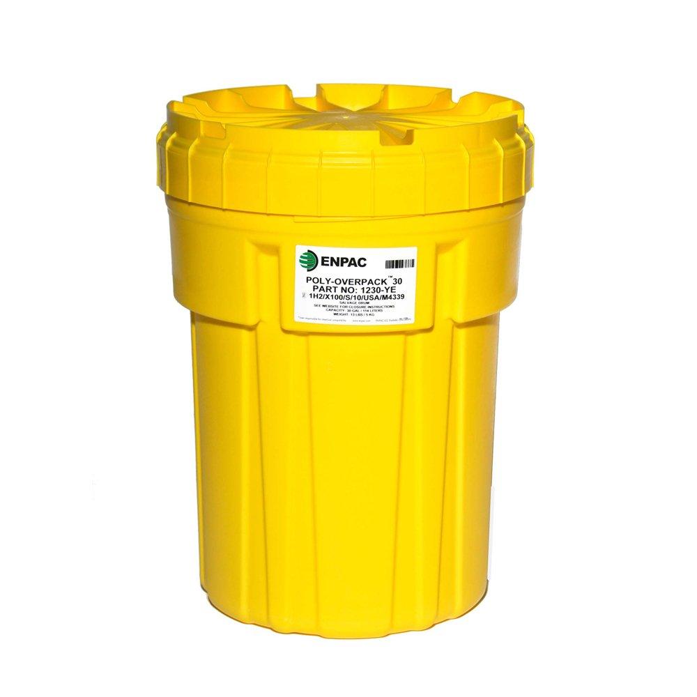 Enpac 1230-YE Poly-Overpack Salvage Drum, 30 Gallons Spill Capacity, 22-1/4'' Top Diameter x 18'' Bottom Diameter x 30'' Height