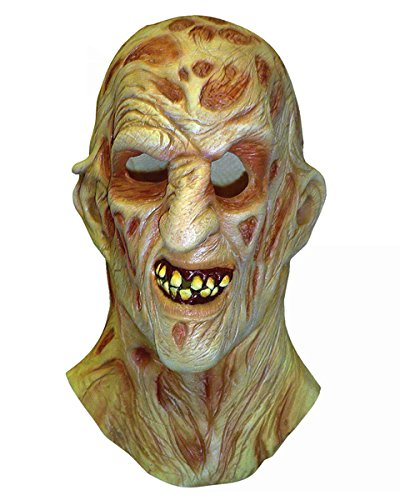 A Nightmare On Elm Street Freddy Krueger Costume Deluxe Overhead Mask, Red, One Size -