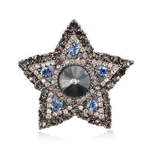 DARLING HER Crystal Rhinestone Star Brooches Pins for Women in Blue/Red / Grey Assorted Colors Grey