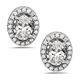 925 Sterling Silver Women's Oval Stud Earrings