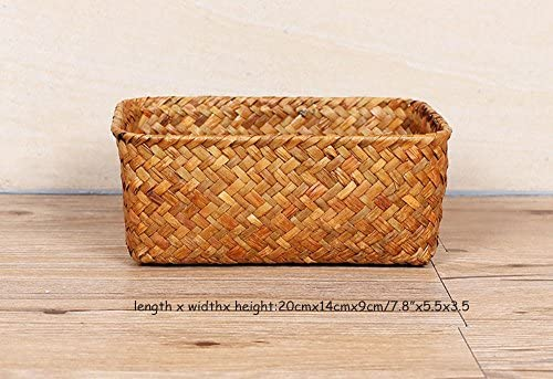 Sea GrassBasket M Seagrass Basket Weaved Rectangular Storage Cube Basket Organizer Storage Fruit Vegetable Drying Rack Tray Woven Silverware Picnic Basket Decorative Kitchen Mesh Waste Hamper Display