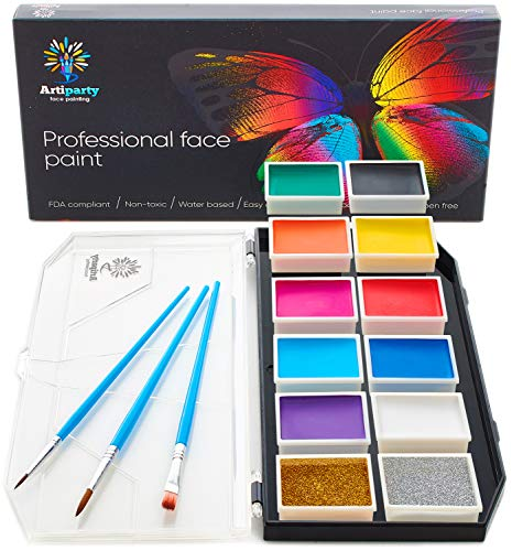 Face Paint Kit – Face Painting Kit for Kids & Adults – Non-Toxic Water Activated Face Paint – Body Paint Set – Dry Face Glitter Included – Easy to Apply & Remove ()