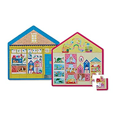 Crocodile Creek 4150-2 Two-Sided Little Pet Shop Puzzle (24 Piece), Blue/Yellow/Pink: Toys & Games