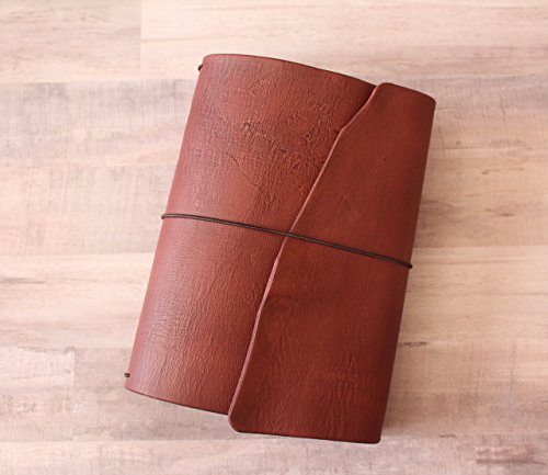 Rustic Bordeaux Leather Quill Traveler's Notebook - 13 Sizes - Trifold Notebook Cover - Lodge Red Leather