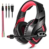 ONIKUMA PC Gaming Headset, 3.5mm Stereo PS4, Xbox one Gaming headset, USB LED Over-ear Gaming headphones with Omnidirectional Microphone, Volume Control for Xbox,Laptop,Mac,iPhone,iPad,Red