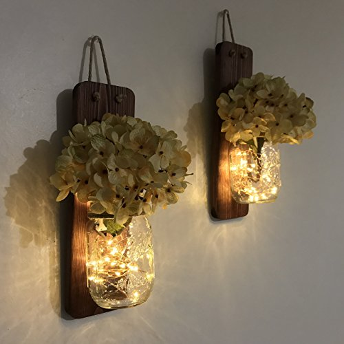 Tennessee Wicks Rustic Mason Jar Wall Sconce Set of Two, Complete with Two Hydrangeas and Two LED Fairy Light Strands (Wood Wall Sconces)