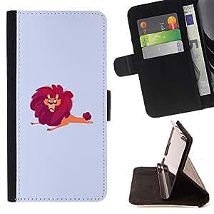BullDog Case - FOR/Sony Xperia Z2 D6502 / - / LION BIG WILD CARTOON DRAWING RED SAFARI ART /- Monedero de cuero de la PU Llevar cubierta de la caja con el ID Credit Card Slots Flip funda de cuer