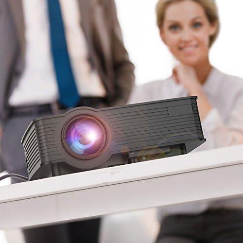 Proyector, abdtech 1200 lúmenes GP10 LED Mini proyector portátil proyector LCD Multimedia cine en casa Max 120 pulgadas en diagonal Soporta USB/TV/tarjeta SD/HDMI/PC/Laptop/Playstation/Xbox/VGA de interfaz – Ideal para videojuegos, Noches De Cine,
