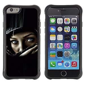 iKiki Tech / Estuche rígido - Helmet Biker Chick Girl Woman Black - Apple iPhone 6