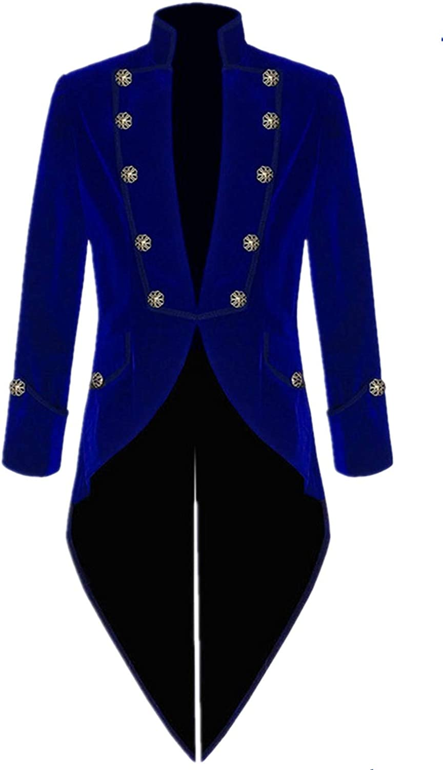 Suxiaoxi Blazer for Men Big and Tall Stylish Velvet Long Steampunk Jackets Men's Formal Gothic Victorian