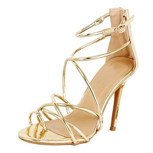 Guilty Heart - Women Sexy Metallic Ankle Strap Zip up Dress - Open Toe Stiletto Sandals Sandals, Goldv1 Pu, 9 B(M) US