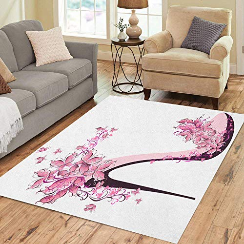 Semtomn Area Rug 5' X 7' Pink Butterfly Shoes on High Heel Decorated Butterflies Event Home Decor Collection Floor Rugs Carpet for Living Room Bedroom Dining Room