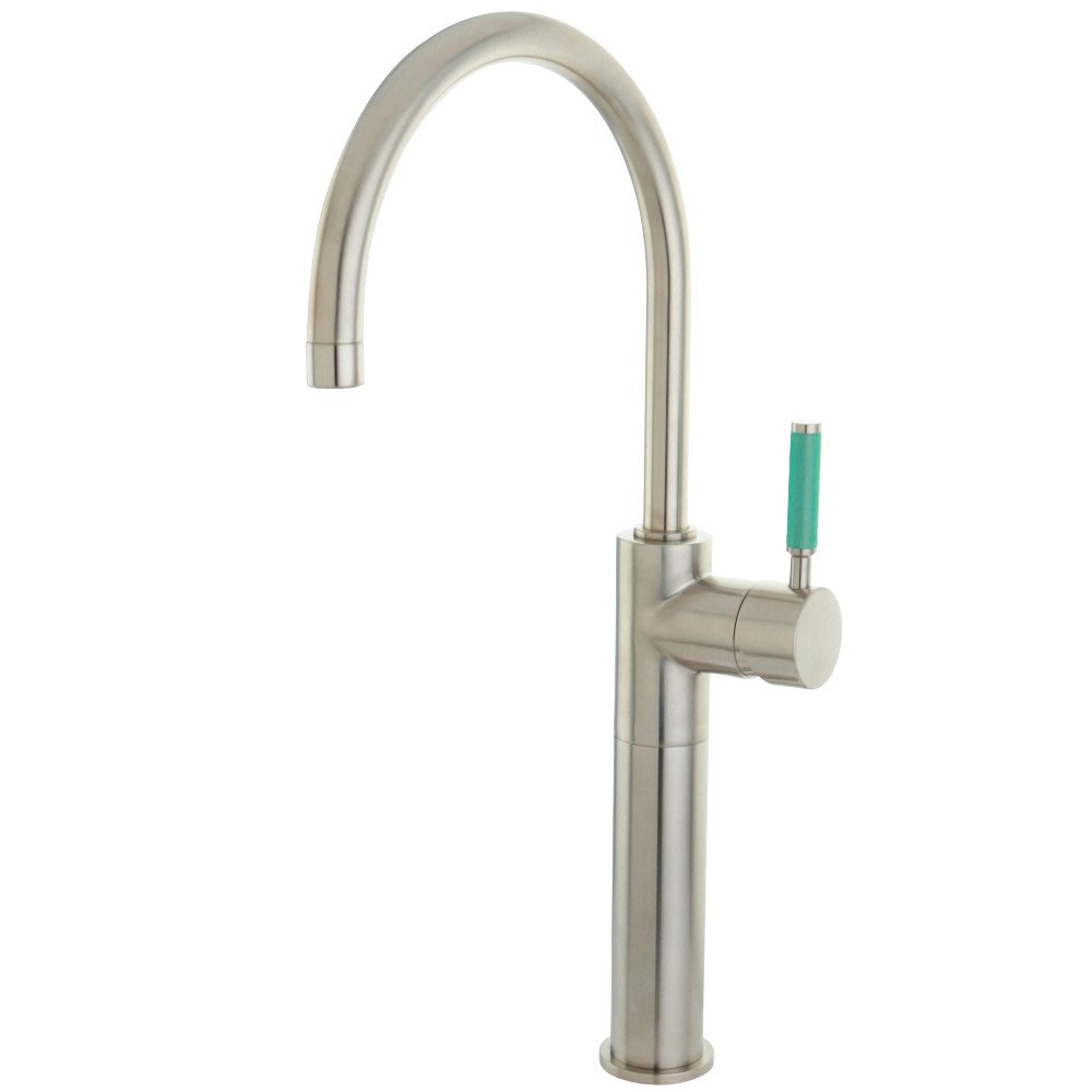 Brushed Nickel Kingston Brass FS8038DGL Green Eden Single Handle Vessel Sink Faucet Without Pop-Up and Plate