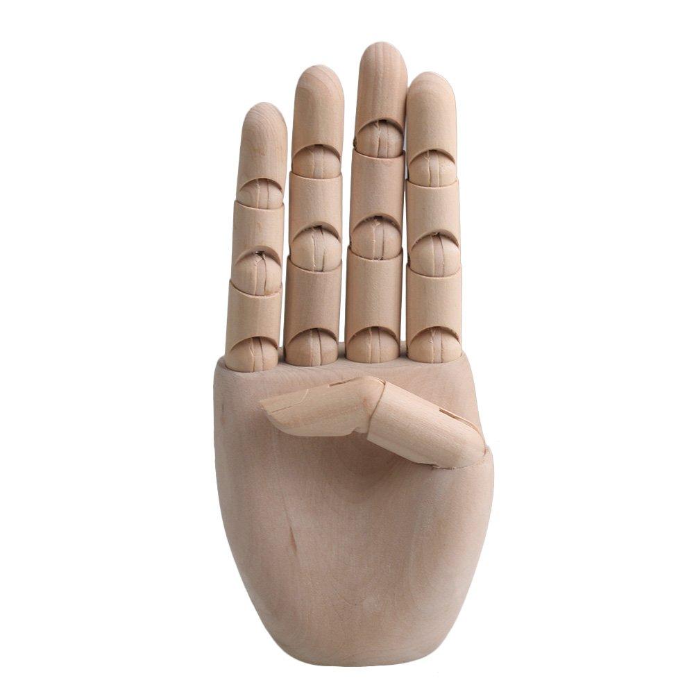 RDEXP 7.7Inch Flexible Wooden Model Articulated Mannequin Fingers Manikin Men Women Wooden Right Hand for Painting