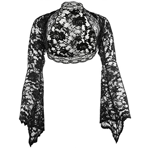 Grace & Flair – Ladies Black Lace Bolero Bell Sleeve Sizes 6-28