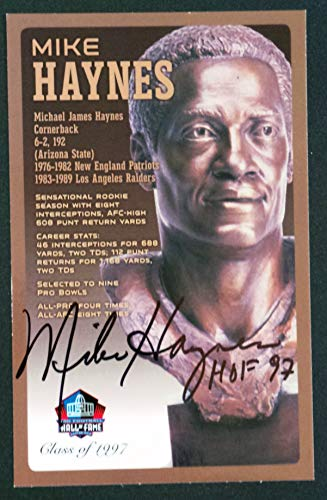 (PRO FOOTBALL HALL OF FAME Mike Haynes Signed Bronze Bust Set Autographed Card with COA (Limited Edition #40 of 150))