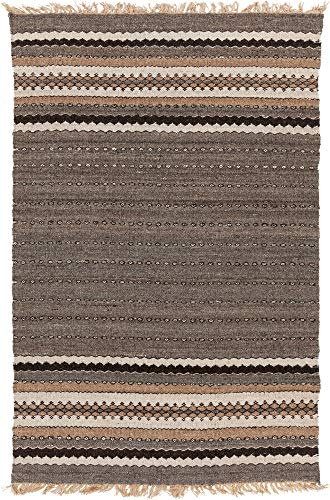 Surya CME2000-46 Papilio by Camel Hand Woven Stripes Area Rug, 4-Feet by 6-Feet
