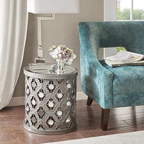 Madison Park Arian Accent Tables – Mirror Glass, Metal Side Table – Silver, Quatrefoil Geometric Design, Modern Style End Tables – 1 Piece Mirror Glass Top Hollow Round Small Tables For Living Room