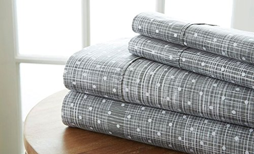 - Simply Soft 4 Piece Sheet Set Polkadot Patterned, Queen, Gray