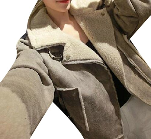 Fleece Outwear H Lapel Suede Zipper Faux Jacket Khaki Parka Women's amp;E Coat UvS4wE7vxq