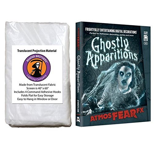 Kringle Bros AtmosFearFX Ghostly Apparitions SD Card Reaper Brothers High Resolution Window Projection Screen Virtual Halloween Videos -