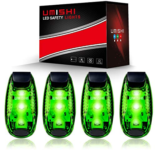 UMISHI 3 Modes LED Safety Lights 4 Packs Clip on Strobe Running Cycling Dog Collar Bike Tail Warning Light High Visibility Accessories for Reflective Gear -