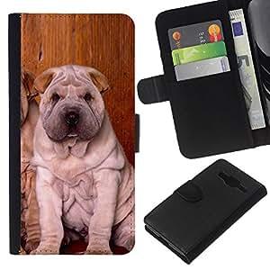 Stuss Case / Funda Carcasa PU de Cuero - Shar Pei Puppies Sitting Wrinkled Dog - Samsung Galaxy Core Prime